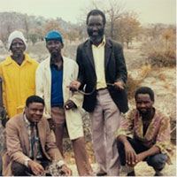 Mr. Phiri (second from right), the elder on the research team in the 1980s (with the Mhike men exploring for groundwater, 1987)