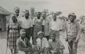 Mr. Phiri (far right) with fellow detainees in Gonakudzingwa Restriction Camp in March 1965, on the visit of Garfield Todd (at back).  This is a rare photo recently uncovered in the Church of Christ Archives in New Zealand.