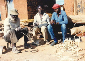 Muonde Trust Director, Mr. Abraham Mawere Ndhlovu undertaking his first action-research interview on April 16th, 1986 with the late fishermen and artisans, Mr. Chikombeka and Mr. Peto, who were particular expert on how inappropriate and obligatory colonial soil conservation works had increased run-off, erosion and riverine siltation.